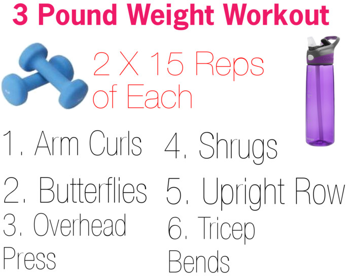 I actually purchased the 3 lb weights so I could do this workout at home  when need be. The days I do not mix it with cardio etc. They were super  inexpensive ...