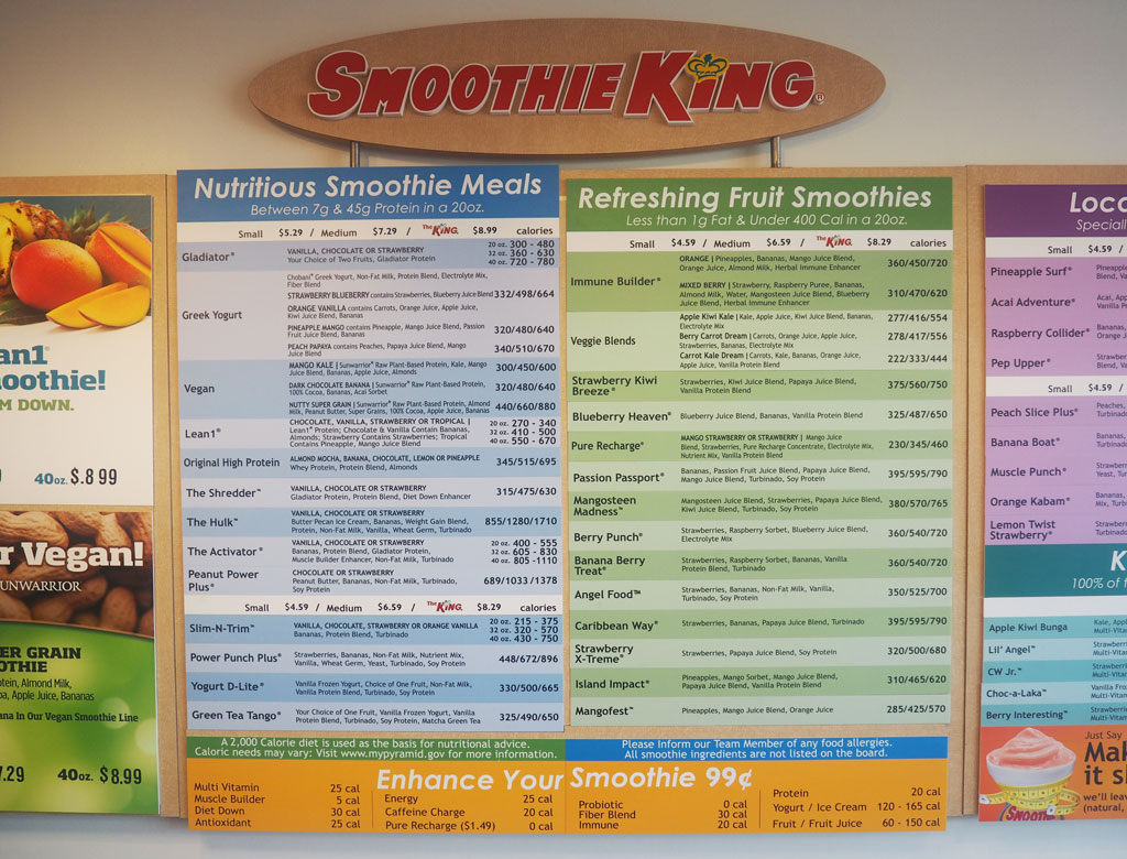 Smoothie King Menu Nutrition Facts - Nutrition Ftempo